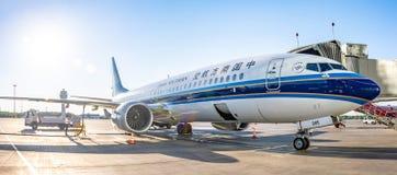 Boeing 737-8 maximum zuidelijk China, luchthaven Pulkovo, Rusland heilige-Petersburg 02 Juni 2018 royalty-vrije stock afbeelding