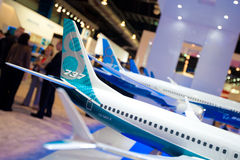 Boeing model planes at the Singapore Airshow 2014 Royalty Free Stock Photos
