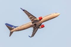 Boeing 737 nästa Gen av SAS flygbolaget Arkivfoton