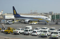 Boeing 737 Next Gen Jet Airways in Abu Dhabi Royalty Free Stock Photo