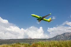 Boeing 737 Next Gen S7 Siberia Airlines taking off at Tivat Airport, Montenegro. Stock Image