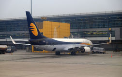 Boeing 737-800 operated by Jet Airways at Delhi international Airport. Indira Gandhi International Airport is the 32th busiest in the world royalty free stock image