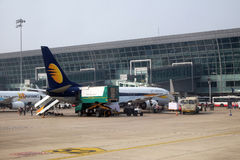 Boeing 737-800 operated by Jet Airways at Delhi international Airport. Indira Gandhi International Airport is the 32th busiest in the world royalty free stock photo