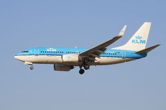 The Boeing 737 (PH-BGF) KLM Royal Dutch Airlines before landing at the airport Pulkovo. View profile Stock Photos