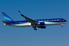 Boeing 767 Plane. Azerbaijan Airlines Boeing 767 Plane in the sky stock photos