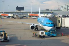 The Boeing 737 plane of KLM airline in the Schiphol Airport on the sunny day Royalty Free Stock Photo