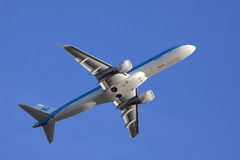 Boeing plane from the KLM on a blue sky. Stock Photo