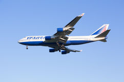 The Boeing-747 plane of Transaero airline sits down at the Sheremetyevo airport Stock Photo
