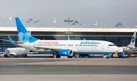 Boeing 737 Pobeda Airlines standing at Vnukovo Royalty Free Stock Photography