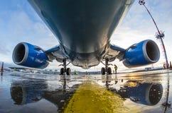 Boeing 737 Pobeda linie lotnicze, lotniskowy Pulkovo, Rosja Petersburg 01 2016 Grudzień Obraz Stock