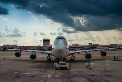 Boeing 747 pushback Atlanta stock image
