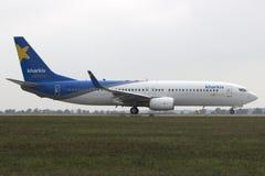Boeing 737-8Q8(WL) at Kharkiv Airport. UR-CLS Kharkiv Airlines Boeing 737-8Q8(Winglets) taking off at Kharkiv International Airport Royalty Free Stock Photos