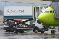 Boeing 737-800 S7 airlines loading the aircraft in-flight catering Royalty Free Stock Photo