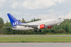 Boeing 737 SAS airlines Airport Pulkovo, Russia Saint-Petersburg. 15 August 2018.  royalty free stock photos