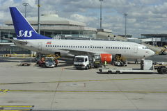Boeing 737 of Skandinavian Airlines Stock Images