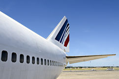 Boeing 747 skin. Fuselage of the Boeing 747 airfrance view with a perfectly blue sky Stock Image