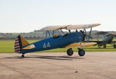 Boeing Stearman biplane taxis for takeoff Royalty Free Stock Photos