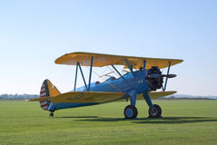 Boeing Stearman on the flight lane Stock Photo