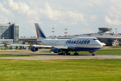 Boeing 747 take off from runway Stock Image