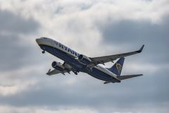Boeing 737-800 takeoff LKPR. Regular line royalty free stock photography