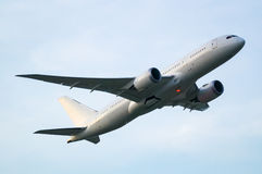 Boeing 787-8. Taking off from the airport royalty free stock photos