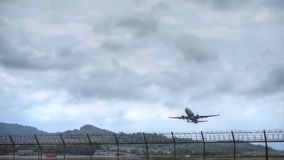 Boeing 737 taking off from Phuket airport stock footage