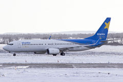 Boeing 737-800 taxi. Kharkiv Airlines Boeing 737-8000 taxy at Kharkiv Stock Images