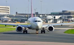 Boeing 737 taxiing. At Manchester Airport stock images