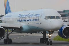 Boeing 757 - 200. A Thomas Cook Boeing 757 - 200 taxiing for departure at Manchester airport Royalty Free Stock Photos