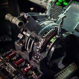 Boeing 737 throttle quadrant. Square-format photo of the pedestal / throttle quadrant of a Boeing 737-300 or -400 aircraft, featuring the thrustlevers, thrust Stock Image