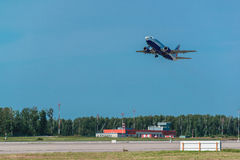 Boeing 737-500 Transaero Airlines take off from airport Royalty Free Stock Photos