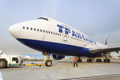 Boeing 747 Transaero towed to the runway. Royalty Free Stock Images