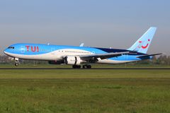 Boeing 767 from TUI. Amsterdam/Netherland April 9, 2016: Boeing 767 from TUI taxing at Amsterdam Airport Stock Image