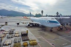 Boeing 747-400 van Cathay Pacific royalty-vrije stock afbeelding