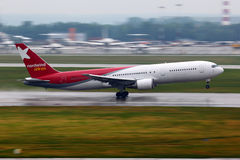 Boeing 767-300 VQ-BRA of Nordwind airlines takes off at Sheremetyevo international airport. SHEREMETYEVO, MOSCOW REGION, RUSSIA - JUNE 14, 2011: Boeing 767-300 Royalty Free Stock Photos