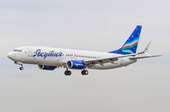 Boeing 737-800 Yakutiyaflygbolag, flygplats Pulkovo, Ryssland St Petersburg Maj 2017 Arkivfoton