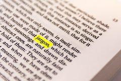 Boek Benadrukt Word Geel Fluorescent Tellersdocument Oude Keywor royalty-vrije stock fotografie