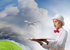 Boek dat - omhoog uw verbeelding blaast Stock Foto's