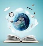 Boek en aarde stock illustratie