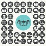Boek en Bibliotheek geplaatste pictogrammen Stock Afbeeldingen