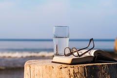 Boek en glas stock afbeelding