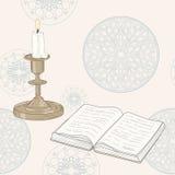 Boek en kaars stock illustratie
