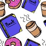Boek en koffiepatroon Stock Afbeeldingen