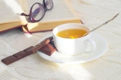 Boek en kop thee Stock Fotografie
