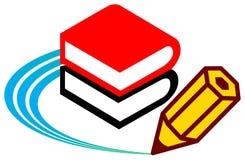 Boek en potlood stock illustratie