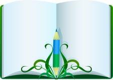 Boek en potlood Stock Afbeeldingen