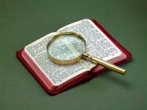 Boek en Vergrootglas Stock Afbeeldingen