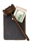 Boek, hamer, dollar Stock Fotografie