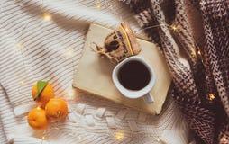 Boek, koffie, sinaasappelen, chocolade, en Kerstmislichten op een witte en geruite achtergrond stock afbeeldingen