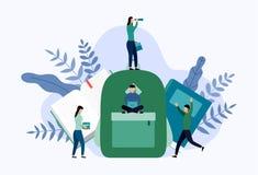 Boek met het concept van de rugzakschool vector illustratie